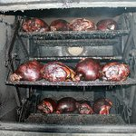 Whole hams smoked for 12 hours.