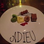 My special dessert on my last of 30 evenings at the hotel. The staff was so thoughtful.