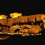 View of Acropolis at night from the terrace