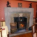 The breakfast room fireplace in the morning