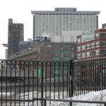 A view of the hotel from the pedestrian bridge at 18th street.