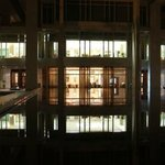 Reflection of the restaurant dining areas from the pool area