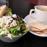 Goat cheese salad and soup