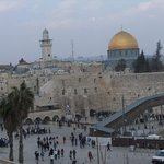 Western (Wailing) Wall with Dome of the Rock in background