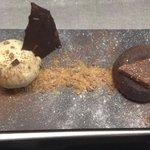 Chocolate fondant with salted honey ice cream and praline