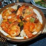 Les crevettes au riz fumé