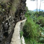 the narrow cemented foot path near the falls