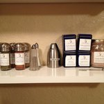 Jennie's Cottage. Spice and tea shelf.  Includes lavender hot chocolate mix.