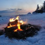 Fire on the beach at Lutsen Lodge