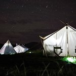 our tent at night.