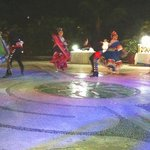 Nightly entertainment: Dancers near the fountains below the lobby bar