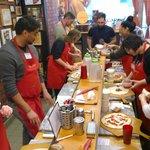 Everyone making pizzas