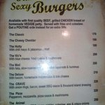 Nice selection of burgers
