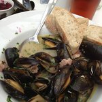 Mussels with organic cider and smokey bacon