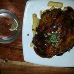 Pork ribs, basted it a piquant marinade