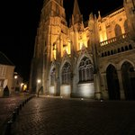 The magnificently illuminated Bayeux Cathedral is a block from the hotel