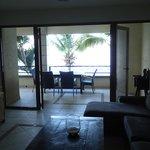 View of the living room, both balcony doors open