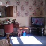 This is room 56 tv viewing, coffee/tea making and vanity area
