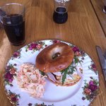 Halloumi and chicken bagel with chilli jam + coleslaw