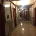 The unusual hallways feel like an office building from 1909