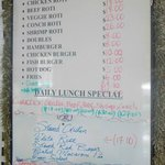 Menu in Eastern Caribbean Dollar