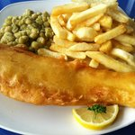 Cod, chips and peas