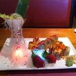 amazing tuna roll, mamoyama roll, scallop and tuna sashimi