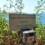 Départ chemin vers plage Karon