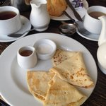 On a pancake day - fresh pancakes and the best scone!