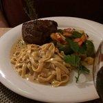 Pepper steak with fresh tagliatelli and steamed vegetables