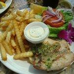 Fish sandwich w/ fries - Crouching Lion Restaurant, Kaaawa, Oahu, HI