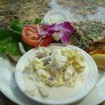 Fish sandwich w/ slaw - Crouching Lion Restaurant, Kaaawa, Oahu, HI