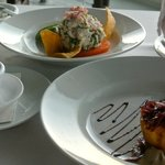appetizers - tomato tart and sea bass ceviche (both amazing)