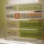 The housekeeping schedule for long-term guests.