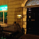 Sinn Fein Bookshop by night.