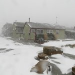 Unusual winter snow storm hits Manzanita. View of Ocean Inn during the beginning of the storm.