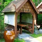 Private huts to eat in.  Romantic.