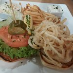 Square grouper sandwich with fries