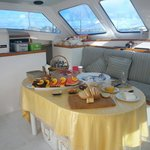 This is the breakfast banquet that awaited us for our day sail on the Catamaran Celine.  Fresh a