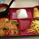 Red Curry Tofu with rice, spring roll, mango salad and miso soup, ALL for $8.95