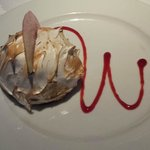 Baked Alyeska with chocolate and raspberry mousse