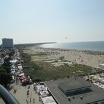 Beach view from the lighthouse - look at all the vendor booths!