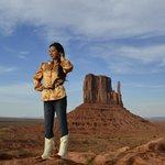 "in front of ""Left Mitten"" in Monument Valley Navajo Tribal Park."
