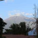 View of Mount Meru from the dining area.