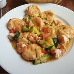 Seabass ravioli with prawns and courgettes