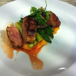 I ate the duck on sweet potato mash with asparagus - loved the garnish too!