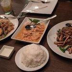 Pad Thai, Penang curry (with chicken), shredded pork with bean curd, jasmine rice