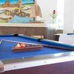 the lobby stopped being boring. pool table, air hockey, you get a cold drink and the kids can go