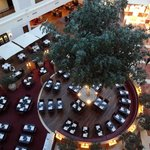 The huge lobby and restaurant