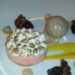 Blood orange meringue dessert